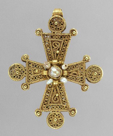Pectoral Cross, 1200–1400  Byzantine  Gold, pearls