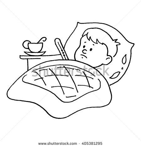 Sick Child Sick Pay Drawing By Stock Vector 405381295 Shutterstock Sick Kids Drawings Coloring Pages