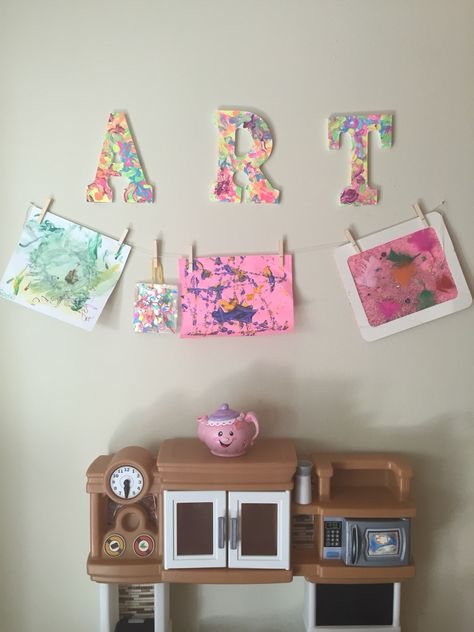 Letters To Hang On Wall have your child paint wood letters. hang twine and clothes pins