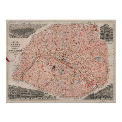 Vintage Map Of Paris France 1892 Poster Zazzle Com Paris Map Vintage Map Vintage Posters