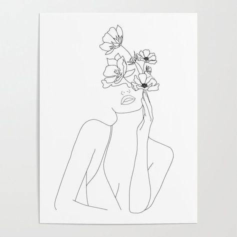 Visage de femme avec affiche d'impression de fleurs illustration art