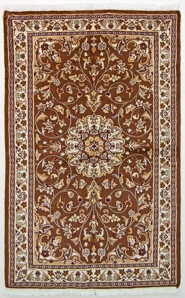 Vintage Oriental Rug Pakistan Wool And Silk Oriental Rug Brown Beige 3 X 5 In 2020 Vintage Oriental Rugs Oriental Rug Vintage Persian Rug