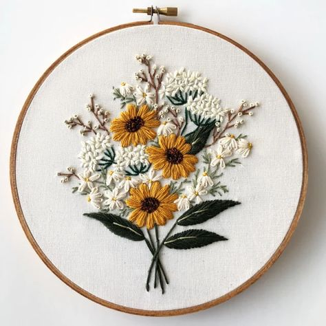 Wildflower bouquet embroidery pattern by floralsandfloss Floral Embroidery Patterns, Simple Embroidery, Hand Embroidery Patterns, Embroidery Kits, Embroidery Stitches, Beginner Embroidery, Cactus Embroidery, Embroidery On Clothes, Butterfly Embroidery