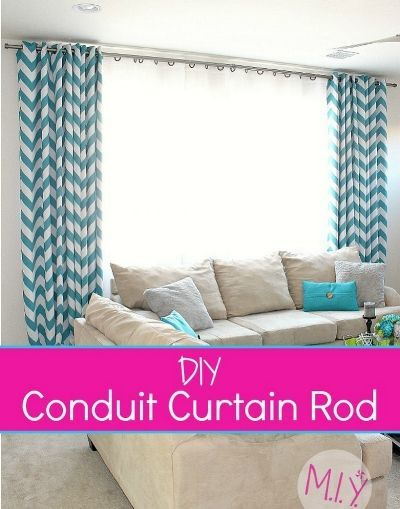 Diy Conduit Curtain Rods The Better Nicer And Cheaper Option For Your Windows Make It Yours With Melissa Diy Curtain Rods Curtains Curtain Rods