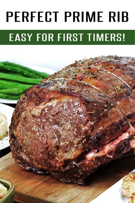Easy Prime Rib Roast Recipe: Easy for beginners to master! This Prime Rib Recipe is loaded with garlic, herbs and flavor. Finish it off with Au Jus for an unforgettable meal. Easy Prime Rib Roast Recipe, Ribs Recipe Oven, Best Prime Rib Recipe Ever, Garlic Prime Rib Recipe, Cooking Prime Rib Roast, Oven Roasted Prime Rib Recipe, Slow Cooker Prime Rib, Slow Roasted Prime Rib, Carne Asada
