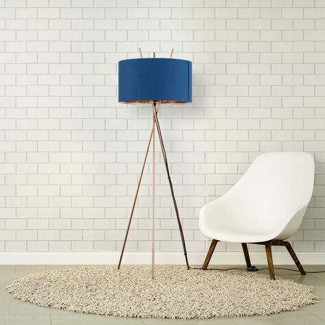 fdaf782709ee Crawford Tripod Floor Lamp Copper With Navy Blue Shade