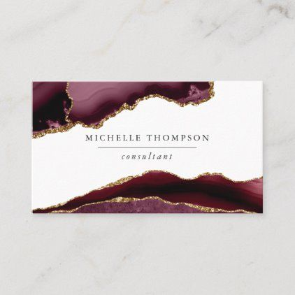 Burgundy And Gold Agate Business Card Zazzle Com Burgundy And Gold Burgundy Printing Double Sided