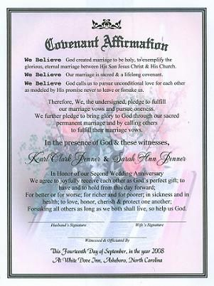 The Sweetest Word Ever Marriage Covenant Renewal Certificate