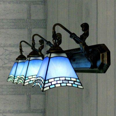 Three Light Mermaid 24 Inch Bathroom Lighting In Tiffany Stained