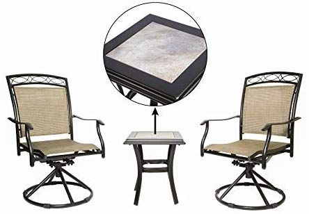 Luckyberry Patio Chair Swivel 3 Piece Bistro Table Chairs Set With Ceramic Tiles Rocking Patio Garden Backyard Outdoor Patio Fu Chair Patio Chairs Swivel Chair