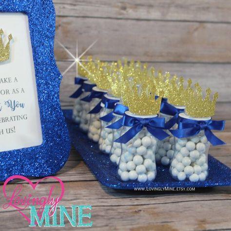 Little Prince Baby Bottle Favors in Royal Blue & Glitter Gold image 3