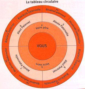 Arbre généalogique - modèle de tableau circulaire | Cercle Généalogique du Bassin d'Arcachon et du Pays de Buch.