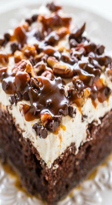 Turtle Chocolate Poke Cake
