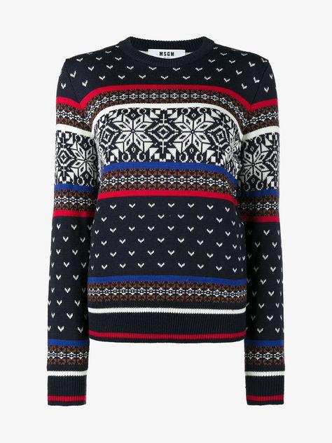 Msgm Sweater Knit Snowflake Blend Intarsia Multi Navy Wool f0nwZq7