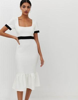 c04d2fa87ca14 DESIGN mono rib midi dress with pep hem | Fashion | Dresses, Midi ...