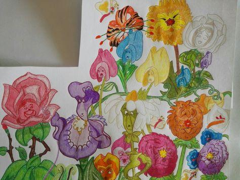 Las flores del jardín, alicia en el país de las maravillas ...