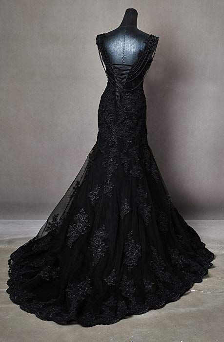 Gothic Black Wedding Dress Made To Measure Any Size Plus Any Colour Amazon Co Uk Clothing Black Wedding Dresses Goth Wedding Dresses Black Wedding Gowns