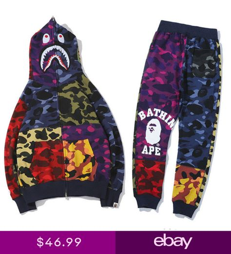 Men Bape A Bathing Ape Shark Monkey Head Sports Sweat Pants Coat Jacket T shirt