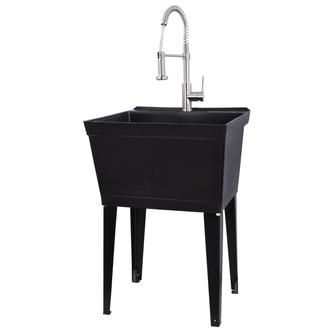Black 19 Gallon Utility Sink With Stainless Steel Coil Pull Down
