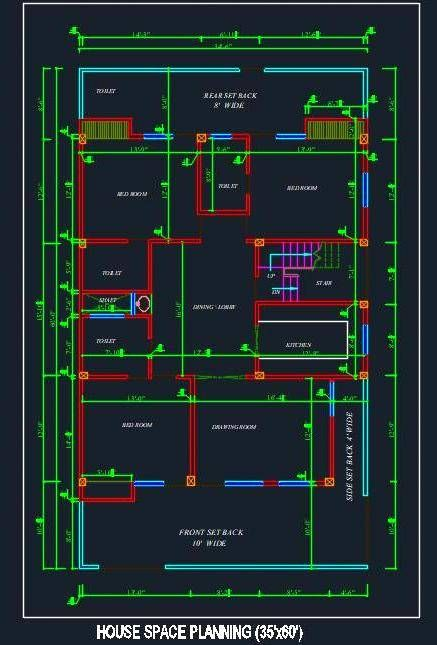 House Architectural Space Planning Floor Layout Plan 35 X60 Dwg
