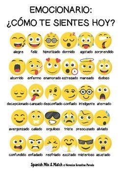 Emocionario Emociones Y Estados De ánimo En Español By Spanish Mix And Match Spanish Teaching Resources Teaching Spanish Learning Spanish