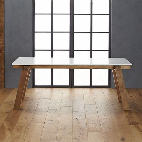 Riviera Rectangular White Top Dining Table Crate and Barrel - designermobel dekoration lenny kravitz