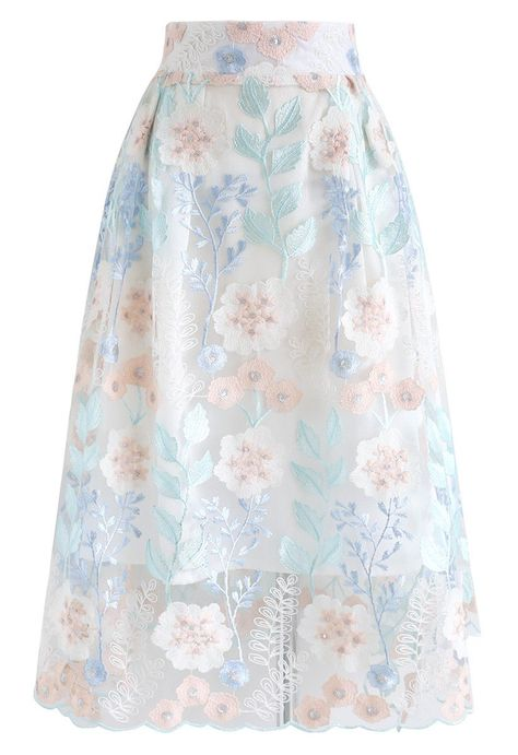 Sometimes we have to take a second to look at the flowers and it'll be impossible not to with this gorgeous embroidered mesh skirt boasting a mesh floral overlay.