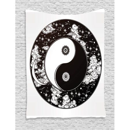 Ying Yang Decor Tapestry Stars And Moon Asian Mystic Starry Night Sky Peace Magic Boho Decor Wall Hanging For B Asian Decor Dorm Decorations Starry Night Sky