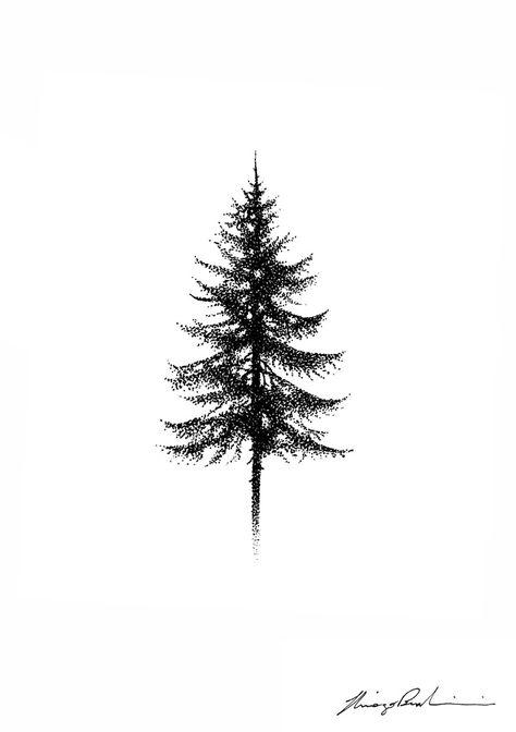 'PINE TREE', 2017. stippling technique.