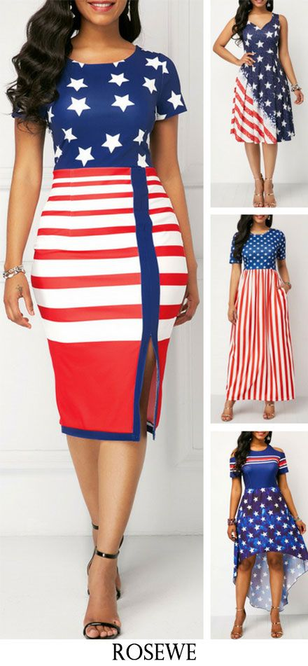 American Flag Print Front Slit Sheath Dress #Rosewe