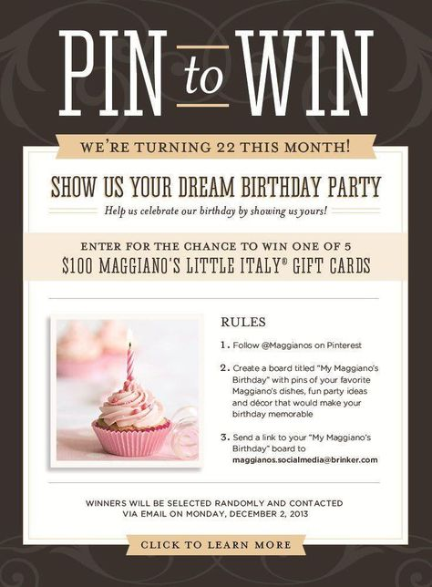 Pin Your Party  for your chance to win $100 to Maggiano's Little Italy! #MyMaggianosBDay