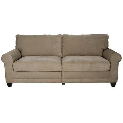 Copenhagen 61 Round Arm Loveseat Deep Seated Sofa Beige Sofa Fabric Sofa