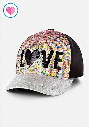 e39523a07 Love Flip Sequin Baseball Cap | Justice new do | Girl baseball cap ...