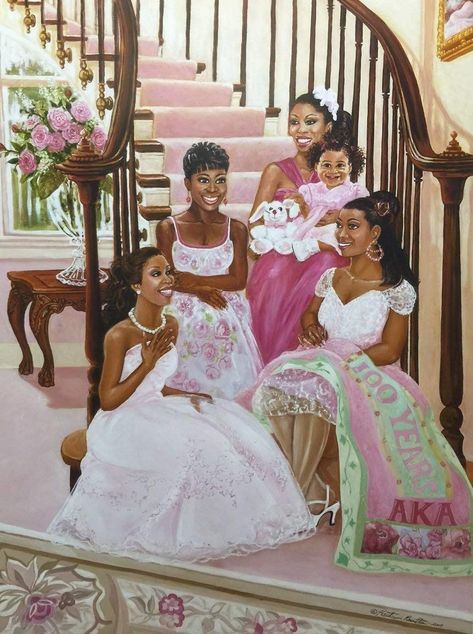 It's Time to Celebrate (Sorority - Aka) - Katherine Roundtree Unframed - African American Black Art Print Wall Decor Poster Black Love Art, Black Girl Art, My Black Is Beautiful, Black Girls, Beautiful Things, Alpha Art, Alpha Kappa Alpha, African American Artwork, African Artwork
