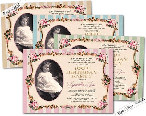 100th Surprise Birthday Party Invitation Milestone Invitations 95th