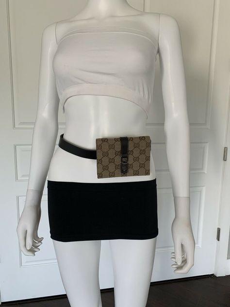 8923c7e3b #FORSALE Gucci Brown Monogram Guccissima Mini Belt Bag GG 70/28 Small - $200