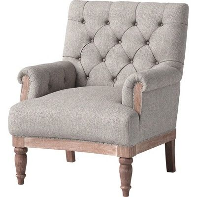 Alford Rolled Arm Tufted Chair With Turned Legs Gray Threshold