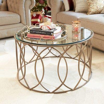 Elana Bronze Iron Round Coffee Table Glass Coffee Table Decor