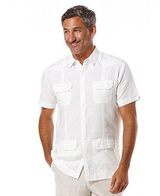 Cubavera Guayabera Four Pocket Embroidered Linen-Blend Shirt - Casual Button-Down Shirts - Men - Macy's
