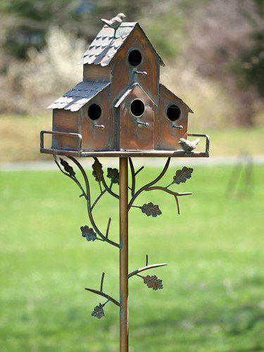 Amazon Com Tisyourseason Copper Finish Songbird Deluxe Bird House Condominium Stakes Peaked Garden Outdoor Birdhouses Rustic Bird House Bird Houses