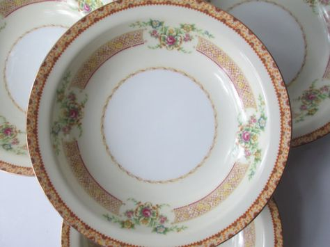 Vintage Empress Pink Gold Floral Soup Bowls Set of by thechinagirl