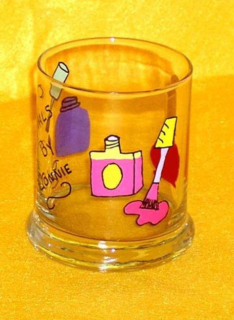 Personalized Nail Tech Tip Jar or Pencil Cup Hand Painted Glass