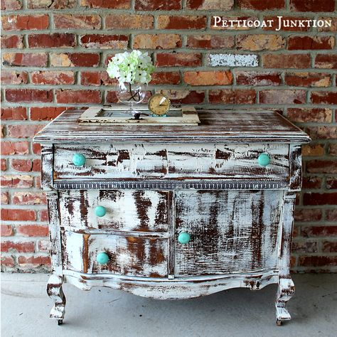 My most controversial furniture makeover ever!!! shabby chic heavily distressed vintage dresser with turquoise wood knobs petticoat junktion