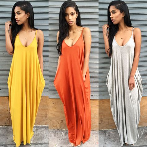 e032c6b08fe9  6.69 - Boho Women V-Neck Backless Strappy Sleeveless Loose Beach Long Maxi  Dress Skirt  ebay  Fashion
