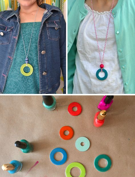 DIY washer necklaces – kid's summer craft – handmade jewelry with nail polish | small for big