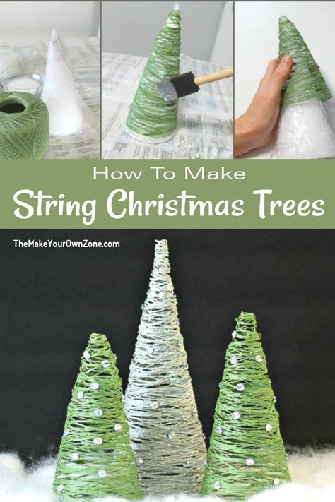 Diy Gifts For Christmas, Diy Christmas Decorations Easy, Diy Christmas Ornaments, Winter Christmas, Holiday Crafts, Christmas Holidays, Tabletop Christmas Tree, Diy Christmas Projects, How To Make Christmas Tree