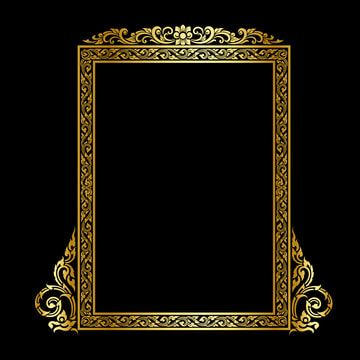 Set Of Decorative Vintage Frames And Borders Set Gold Photo Frame With Corner Thailand Line For Picture Vector Design Decoration Pattern Style Border Design Is Gold Photo Frames Vintage Photo Frames