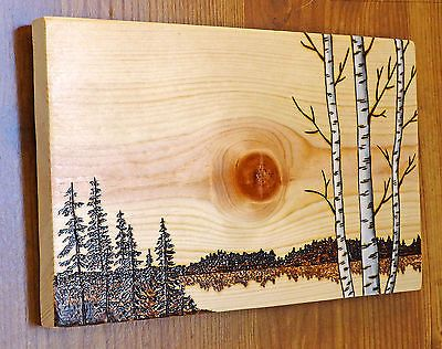 Woodburning Art, Pyrography, Birch/Aspen & Pine Tree Landscape w ...
