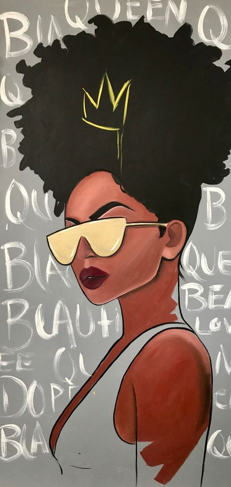 Image of Black Queen art painting Black Love Art, Black Girl Art, Black Girl Magic, Art Girl, Black Art Painting, Black Artwork, Afro Painting, Black Canvas Art, Black Power Desenho