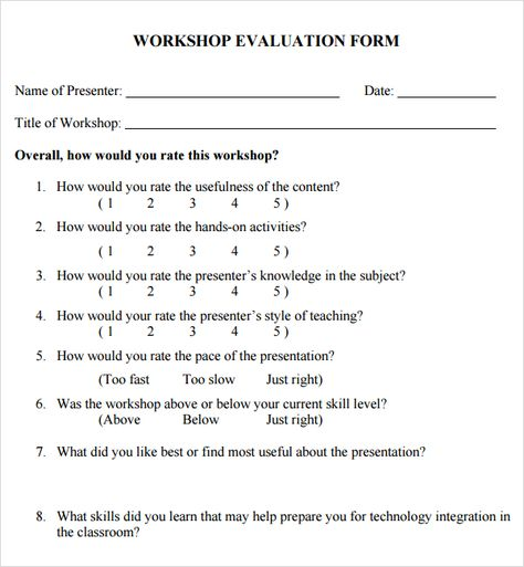 Workshop Evaluation Form Template Evaluation Form Training